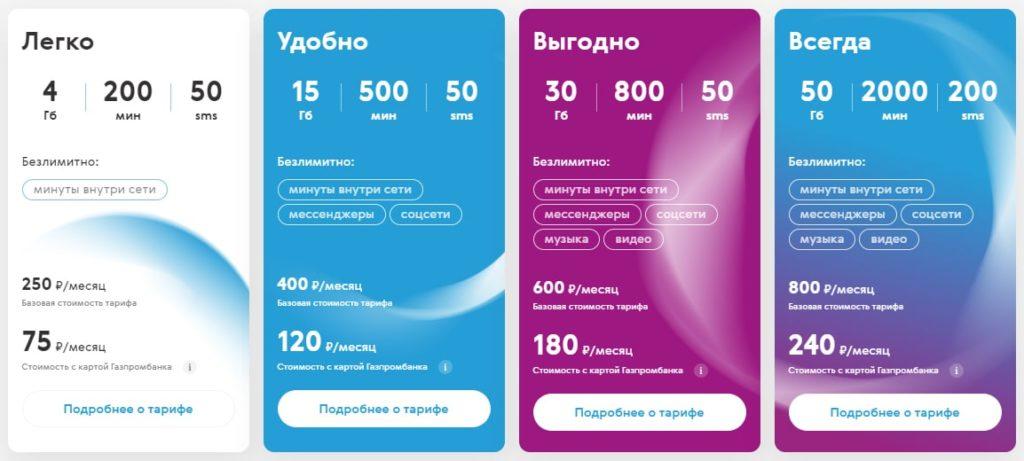 газпром мобайл тарифы